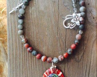 Abalone Shell Pendant necklace - Red Jasper necklace with pendant - Red Jasper and Abalone Shell necklace - Resort  Jewelry -  Red necklace