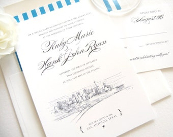 San Antonio Skyline Wedding Invitation Package (Sold in Sets of 10 Invitations, RSVP Cards + Envelopes)
