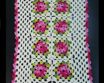Natural with Pink Flowers Hand Crochet Tablecloth.