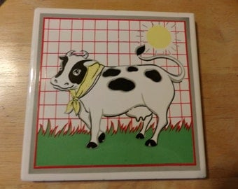 Vintage Cow trivet, Cow tile trivet, movie prop, cow décor, kitchen cow decor