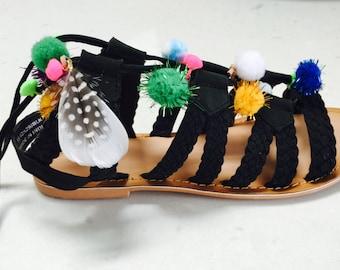 Pom Pom Gladiator Sandal