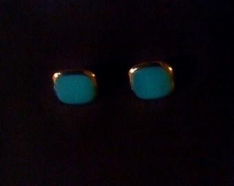 Vintage 1970's Blue Enamel, Square, Clip On Earrings, Aqua, Teal, Costume Jewelry