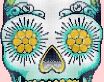 ON SALE Sugar Skull - pop art - 99 x 157 stitches - Cross Stitch Pattern Pdf - INSTANT Download - C638
