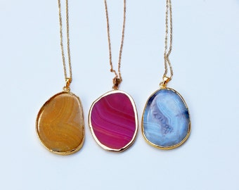 Agate Slice Necklace, Agate Necklace, Gold Agate Necklace, Agate Pendant Necklace, Crystal Necklace, Blue Agate, Agate Slice, Agate, Crystal