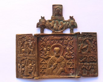 Travel icon- Old Russia- Bronze- Collection- Tricuspid triptych Nicholas of Mozhaisk XVIII century