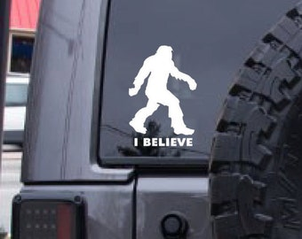 Bigfoot decal, FREE SHIPPING,  Sasquatch sticker, White vinyl decal, I believe decal, home decor, car sticker, yeti, laptop sticker #124