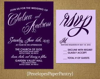 Elegant Purple Wedding Invitations,Purple,Lavender,Traditional,Simple,Classic,Romantic,Chic,Opt RSVP Card,Customizable,With White Envelopes