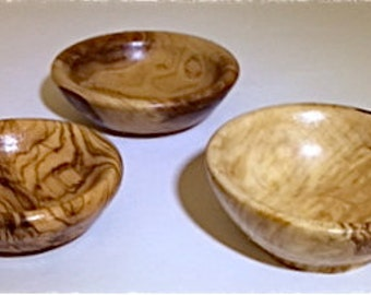MINIATURE OLIVE WOOD Bowls Set of 3   Hand Carved by Los Angeles Philharmonic Musician/Fine Art Woodworker Jack Cousin