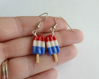 4th of July Patriotic Jewelry Red White and Blue Miniature Food Jewelry Polymer Clay Ice Cream