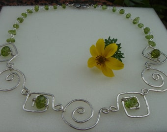 Necklace, sterling silver, spirals with Peridot, unique