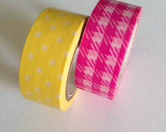 Washi tape-Summer punch! 2 new colors! Lemon dot and hot pink plaid!