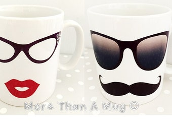His and Hers Mugs, Lips and moustache with vintage glasses. Wedding gift. Beautiful gift for your loved one. Couple present. Christmas gift.