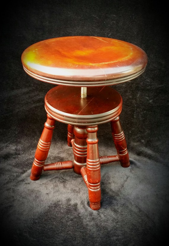 Antique piano stool round telescoping rotating wood adjustable