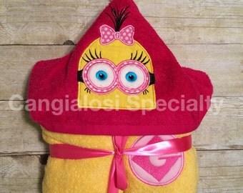 Girl Minion Inspired Hooded Bath Towel (Bob, Kevin, Stuart AVAILABLE)/Shower/Birthday/Christmas/Gift/Bath/Pool/Towel/Beach/Party/Favor