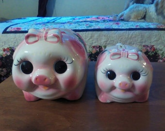 Pair of porcelain Piggy Bank Pigs Adorable Mommy and Baby no cork.