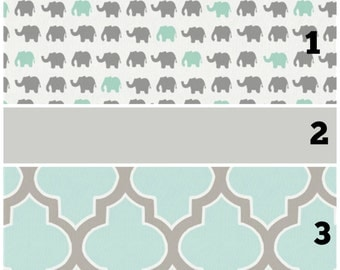 Custom Crib Bedding in Elephant March and Quatrefoil - Gray and Aqua -*Bumpers Rail Guards Sheet Crib Sheet Changing Pad Cover*