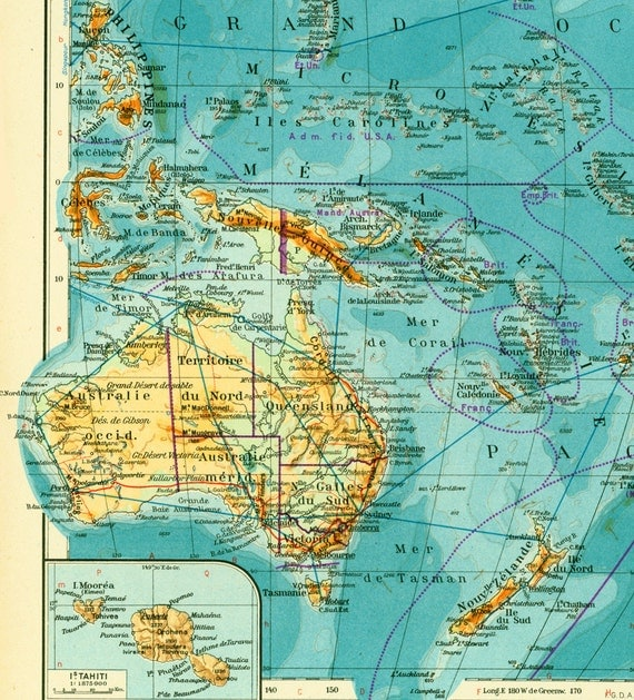 Australia South Pacific: 1950 South Pacific Map. Oceania Australia Vintage Map. Large