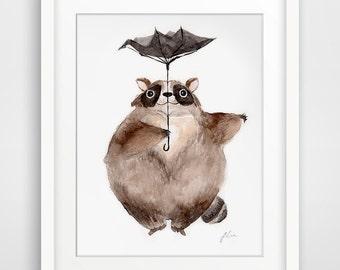 Totoro Pose illustration Series - Raccon (Fine Art Print)