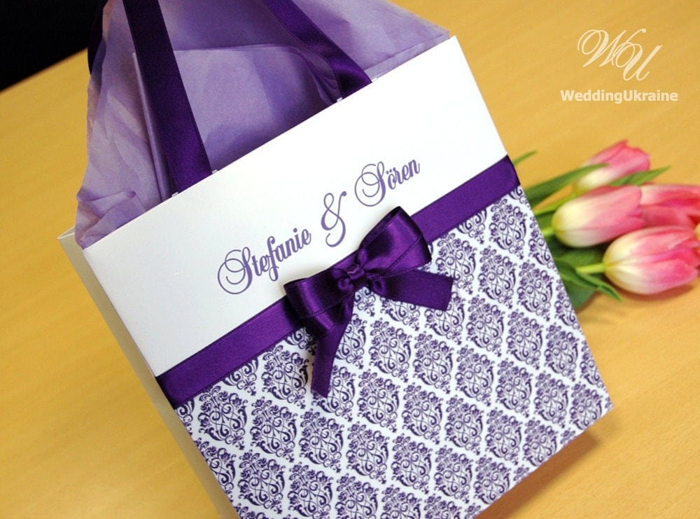 Wedding Favor Bags And Ribbons : Purple Wedding Welcome Bags with satin ribbon damask pattern