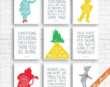 Wizard of OZ Quotes and Characters - Set of 9 Art Prints (Unframed) (Featured on Assorted Colors) Kids Room Art Prints