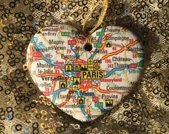 Paris Map Ornament
