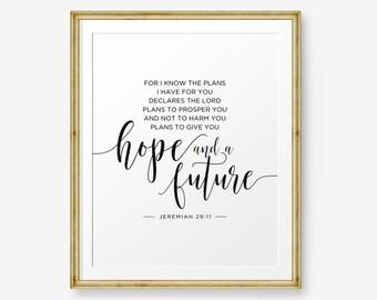 SALE Nursery Bible Verse art print, Jeremiah 29:11, For I know the plans, Nursery decor, Children printable