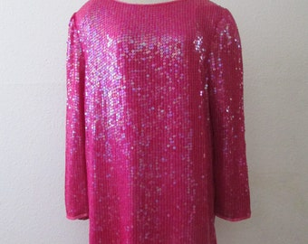 16-0101 Vintage 1990's Hot Pink Sequin Mini Dress / Pink Micro Mini Dress / Pink Sequin Dress / Pink Silk Dress / Sequins / Sequined Dress