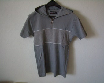 Polo/shirt with hood, short sleeves, light grey, size S, Vintage 1990s
