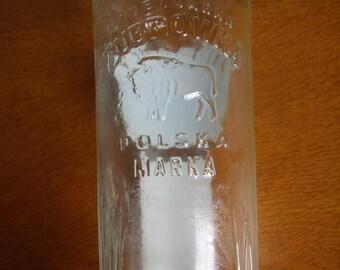 glass bottles white collector bottle Vodka Zubrowka, Collection bottle.