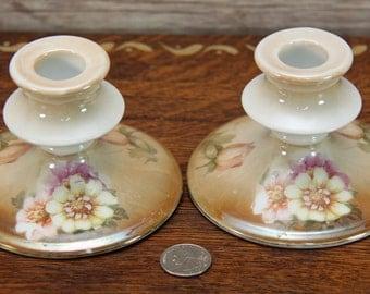 Antique Vintage RS Germany Candlesticks ~ Floral Pattern ~ Soft, Subtle Color Tones ~ Circa 1912-1945