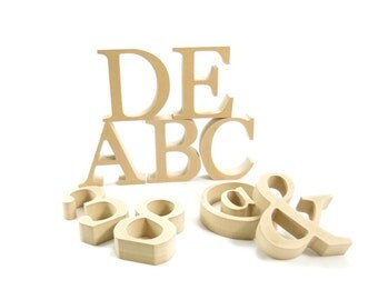 "15cm/6"" Free standing wooden letters and numbers for DIY craft projects"