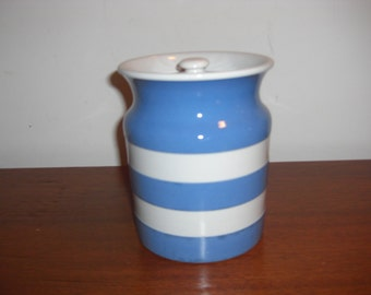 Vtg English Cornish Kitchenware Blus & White Pottery Cannister