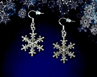 50% SALE Christmas Earrings..Snowflake Dangle Earrings..Silver Snowflake Earrings..Winter Wedding Earrings..Snowflake Jewelry FREE SHIPPING