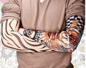 Nylon realistic tattoo sleeves fake temporary tattoo sleeve for How to get fake tattoos off