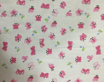 """Pink Butterfly Poly Cotton Print Fabric - Sold By The Yard - 58"""" / 59"""""""