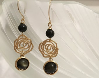 Natural gold sheen black obsidian quartz dangling earrings handmade with gold wire