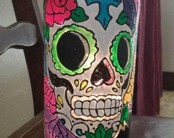 Sugar Skull lighted bottle