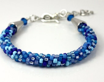 Blue Beaded Bracelet - Bangle Bracelet - Kumihimo Beaded Bracelet - Gift under 25 - Blue Bracelet - Summer Jewelry - Womens Bracelet