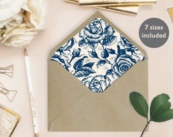 Envelope Liner Template (Traci) - Instant Download - Blue roses, DIY Printable