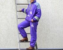 80s 90s Workout Training Jogging Suit Purple Windbreaker Pants & Jacket Set Ski Suit Warm Up Pants Suit Hip Hop Style