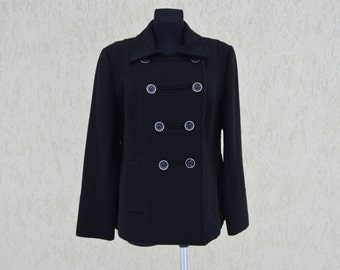 Black Womens Blazer Plus Size Military Jacket Cardigan Boho Trench Coat Band Fall Jacket Double Breasted Cardigan Size Extra Large
