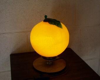 Bespoke Orange Glass and Teak Circular Table Lamp