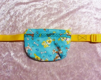 Dog Treat Bag. Blue and Yellow