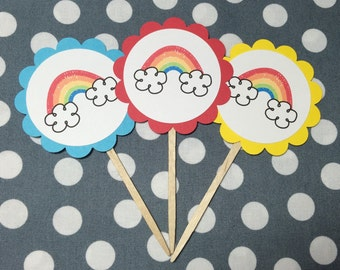 Rainbow Cupcake Topper - Rainbow Cupcake Pick - Dessert Table - Photo Prop - Rainbow Birthday - Rainbow Baby Shower - Rain