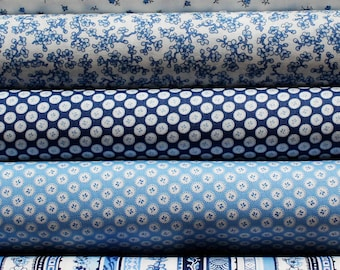 Quilters Fat Quarter Bundle of 5 - Oriental Blue #1