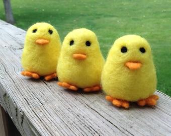 Needle Felted Chicks-  set of three