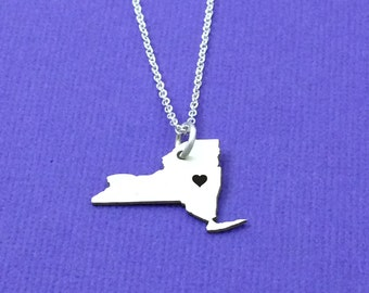 BIG SALE!!! Sterling Silver New York State Necklace, NewYork Pendant, Gift for Her, Statement, Christmas, Holiday Gifts, Pendant