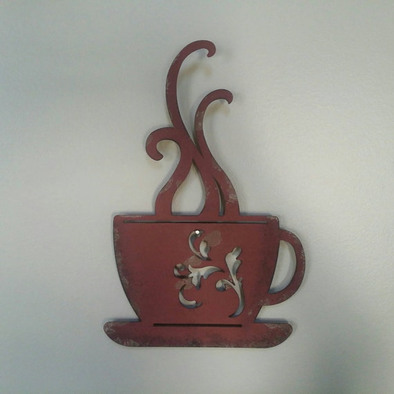Metal Coffee Cup Wall Decor Red And Distressed-Upcycled