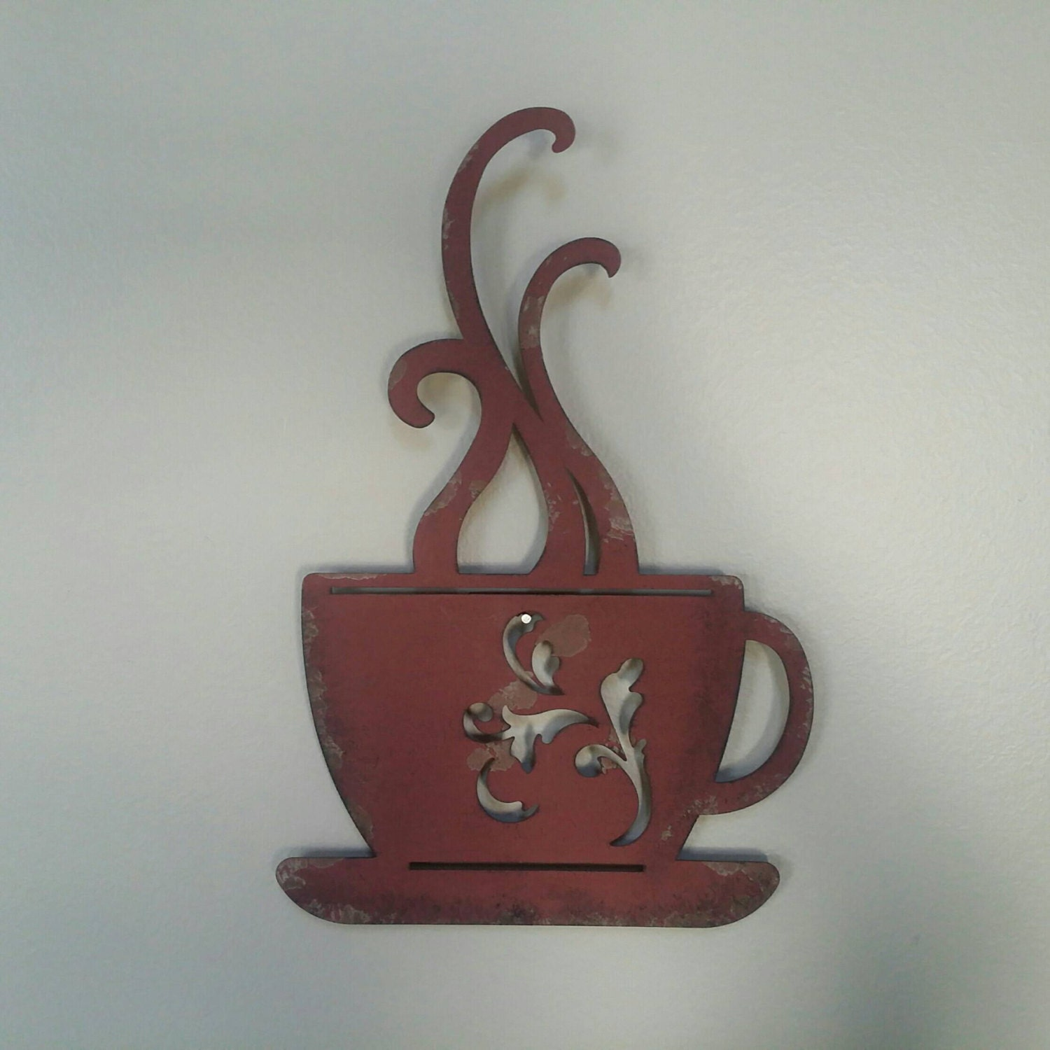 Metal Coffee Cup Wall Decor Red And Distressed Upcycled