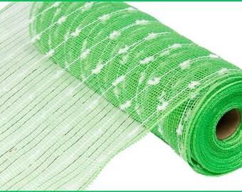 """10.5""""X10yd Lime Green & White Metallic Snowball Mesh/Wreath Supplies/RY820066"""